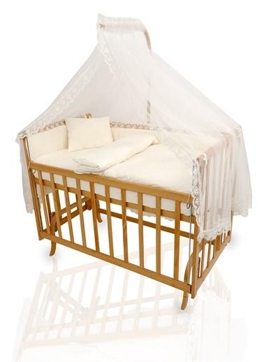 """Bebe Konfor Elyeza Anne Yanı Beşik """"Krem Fransız Dantelli"""" Uyku Seti ile Renkli"""